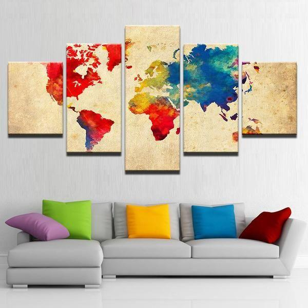 Vintage color world map canvas wall art canvasx old world map wall art decor gumiabroncs Gallery