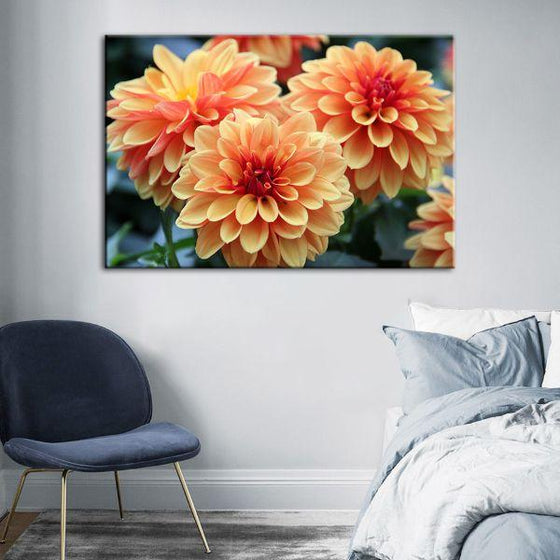 Orange Dahlia Flowers Canvas Wall Art Decor