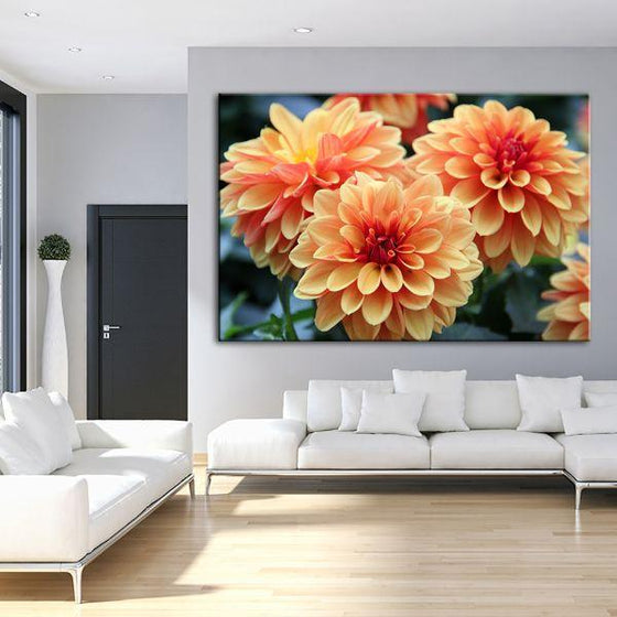 Orange Dahlia Flowers Canvas Wall Art Living Room