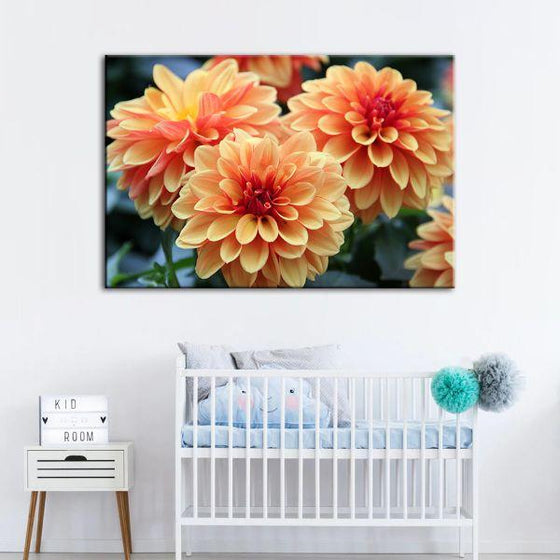 Orange Dahlia Flowers Canvas Wall Art Nursery