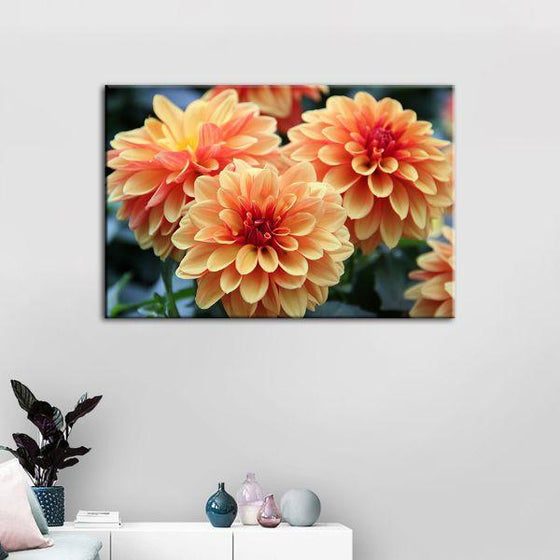 Orange Dahlia Flowers Canvas Wall Art Print