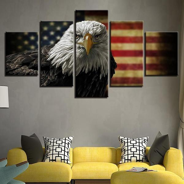 Outdoor American Flag Wall Art Canvas
