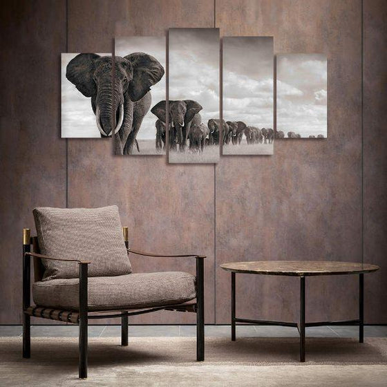 Parade Of Elephants Canvas Wall Art Decor