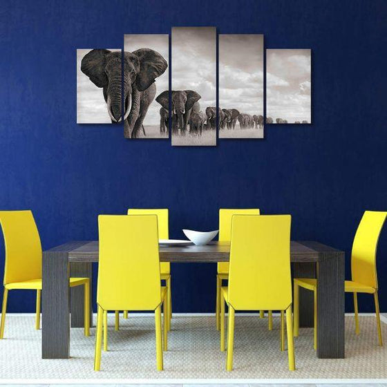 Parade Of Elephants Canvas Wall Art Dining Room