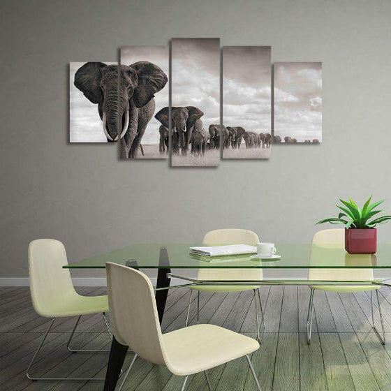Parade Of Elephants Canvas Wall Art Office