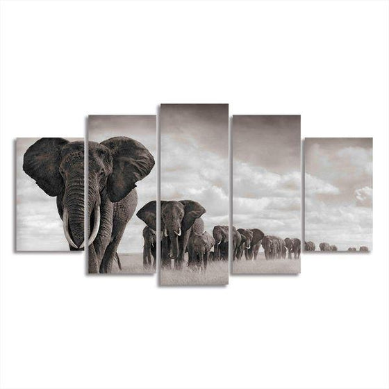 Parade Of Elephants Canvas Wall Art