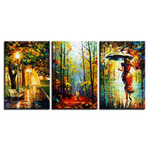 Park Bench With A Woman Canvas Art