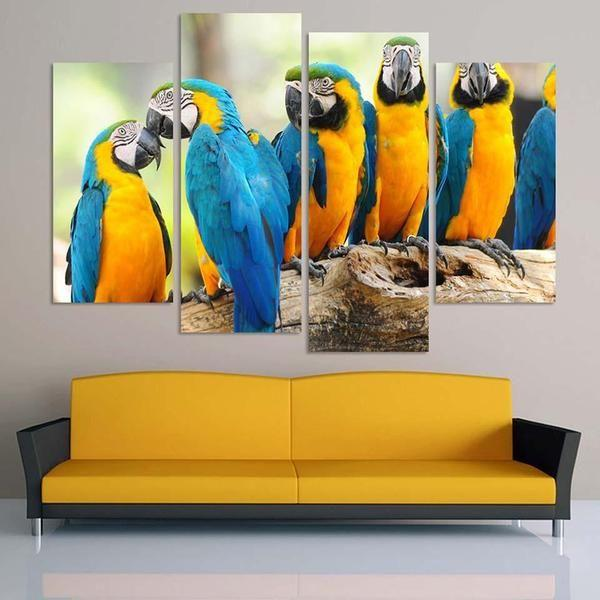 Parrots Sitting on a Branch Canvas Wall Art — canvasx.net