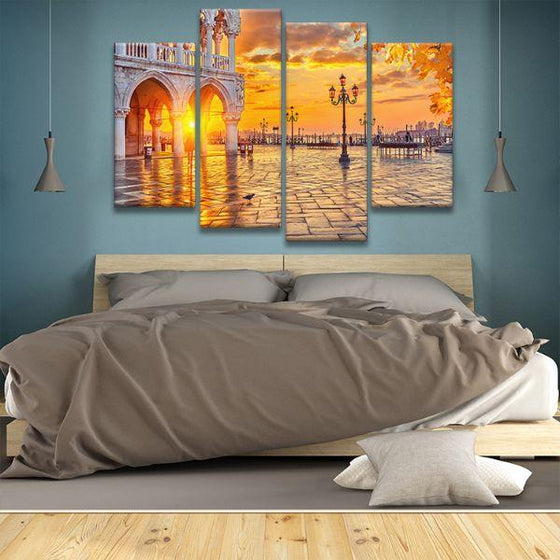 Piazza San Marco Sunrise 4 Panels Canvas Wall Art Decor