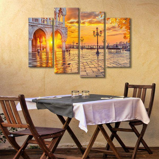 Piazza San Marco Sunrise 4 Panels Canvas Wall Art Dining Room