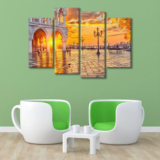 Piazza San Marco Sunrise 4 Panels Canvas Wall Art Set