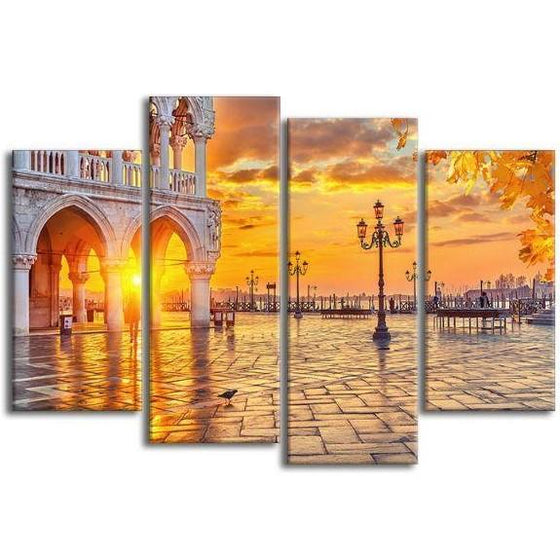 Piazza San Marco Sunrise 4 Panels Canvas Wall Art
