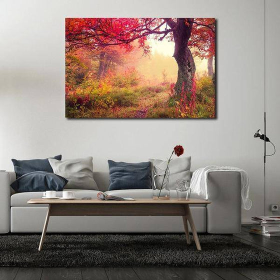 Picturesque Forest Sunrise Wall Art Living Room