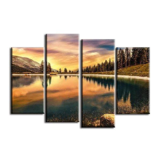 Pine Trees And Lake Sunset Canvas Wall Art Prints