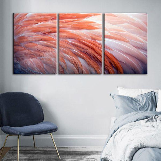 Pink Flamingo Feathers 3 Panels Canvas Wall Art Bedroom