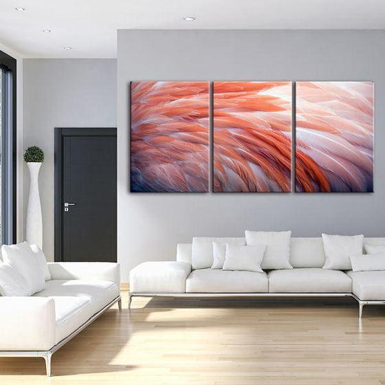 Pink Flamingo Feathers 3 Panels Canvas Wall Art Living Room