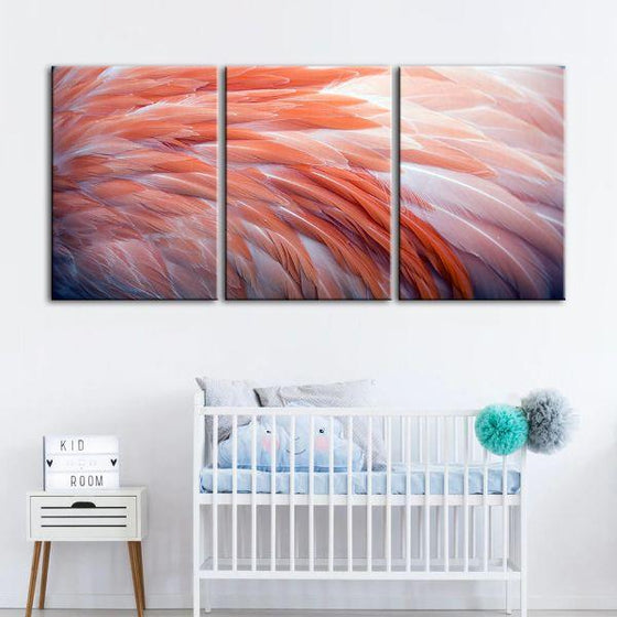 Pink Flamingo Feathers 3 Panels Canvas Wall Art Nursery