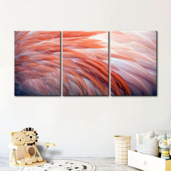 Pink Flamingo Feathers 3 Panels Canvas Wall Art Set