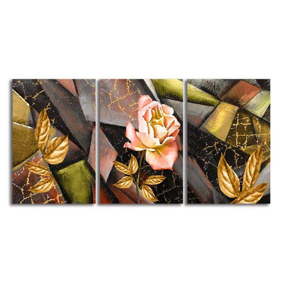 Pink Rose 3 Panels Contemporary Canvas Wall Art