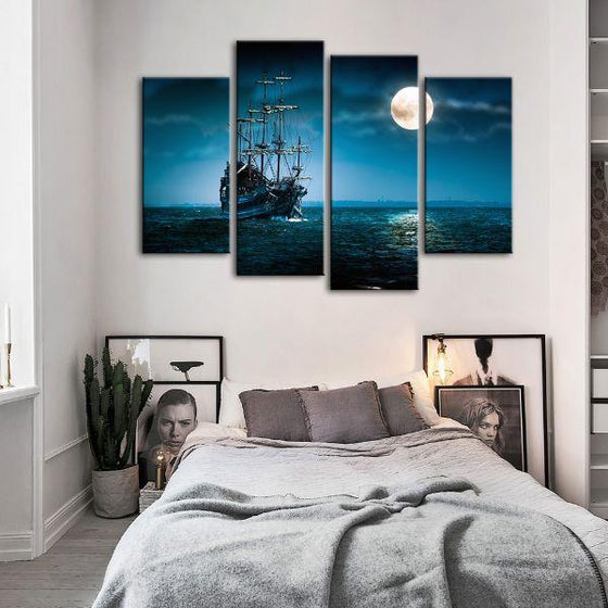 Pirate Ship & Full Moon 4 Panels Canvas Wall Art Bedroom