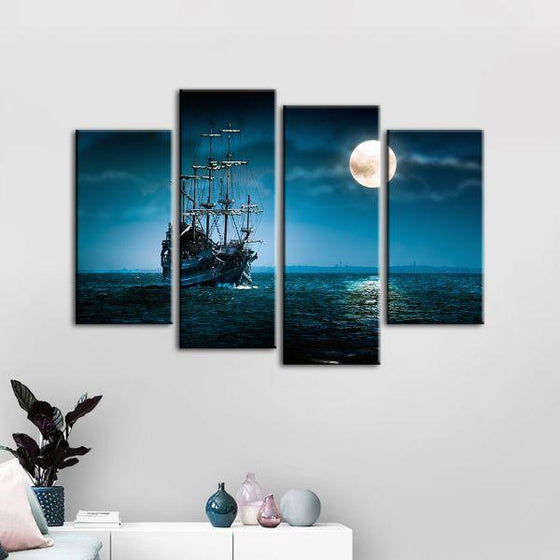 Pirate Ship & Full Moon 4 Panels Canvas Wall Art Decor