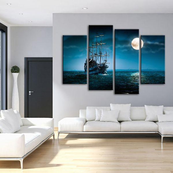Pirate Ship & Full Moon 4 Panels Canvas Wall Art Living Room