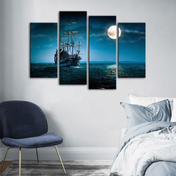 Pirate Ship & Full Moon 4 Panels Canvas Wall Art Set