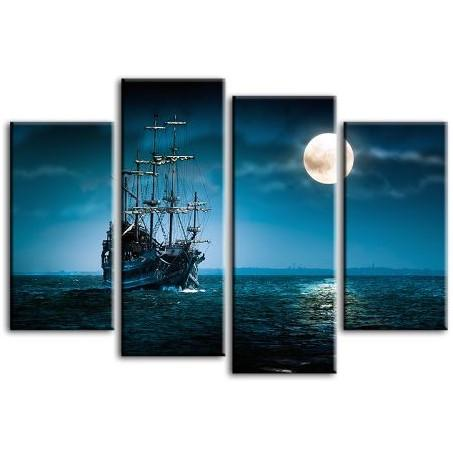 Pirate Ship & Full Moon 4 Panels Canvas Wall Art