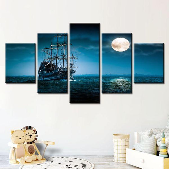 Pirate Ship & Full Moon 5 Panels Canvas Wall Art Decor