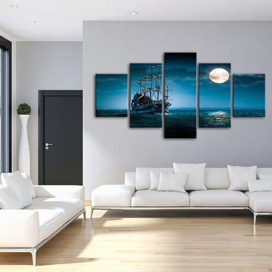 Pirate Ship & Full Moon 5 Panels Canvas Wall Art Living Room