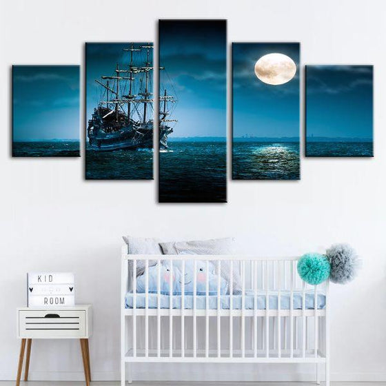 Pirate Ship & Full Moon 5 Panels Canvas Wall Art Nursery
