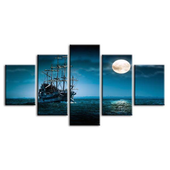 Pirate Ship & Full Moon 5 Panels Canvas Wall Art