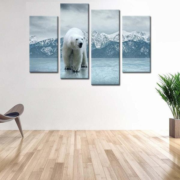 Polar Bear Metal Wall Art Canvas