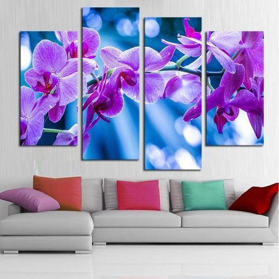 Fresh Purple Orchids Canvas Wall Art Prints