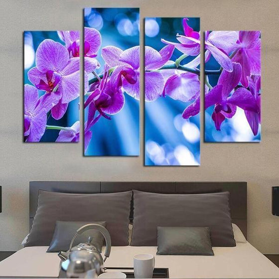 Fresh Purple Orchids Canvas Wall Art Bedroom