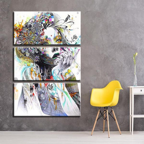 Psychedelic Girl With Flower 3 Panels Canvas Wall Art Bedroom