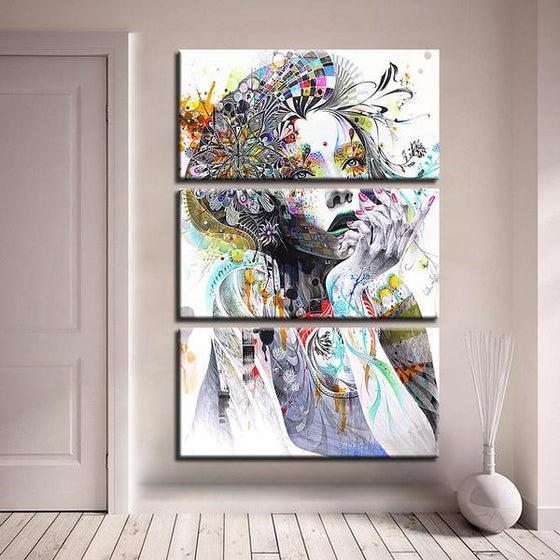 Psychedelic Girl With Flower 3 Panels Canvas Wall Art Decor