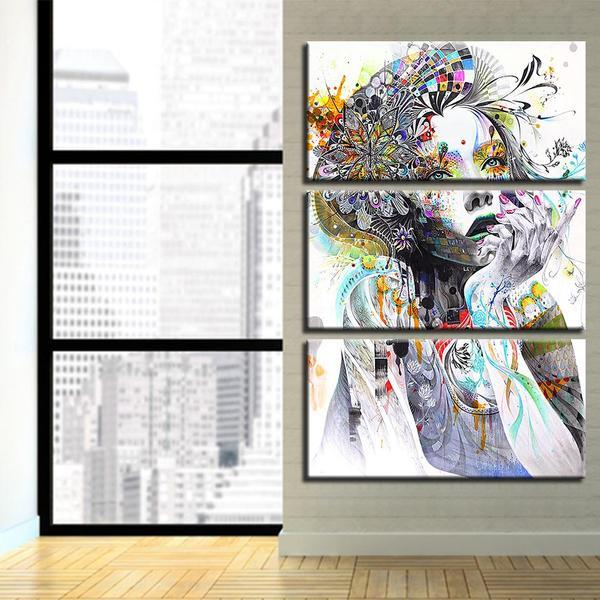 Psychedelic Girl With Flower 3 Panels Canvas Wall Art
