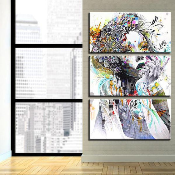 Psychedelic Girl With Flower 3 Panels Canvas Wall Art Living Room