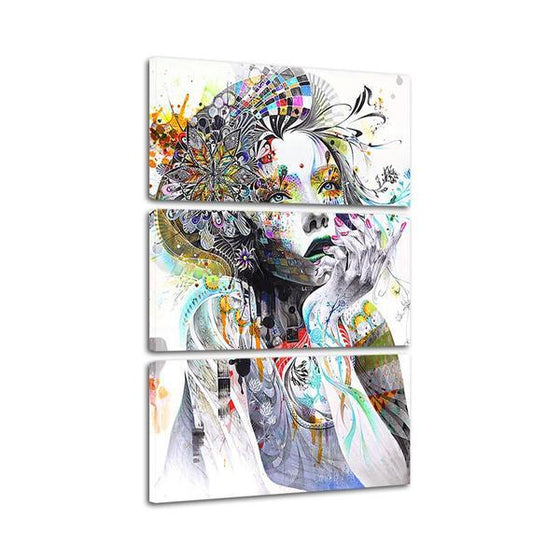 Psychedelic Girl With Flower 3 Panels Canvas Wall Art Set