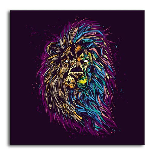 Psychedelic Lion Canvas Wall Art