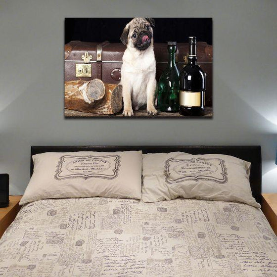 Pug With Wine Bottles Canvas Wall Art Bedroom