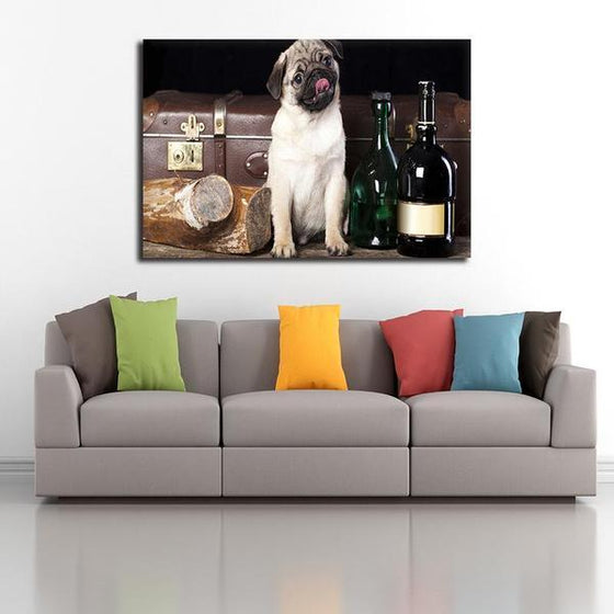 Pug With Wine Bottles Canvas Wall Art Decor