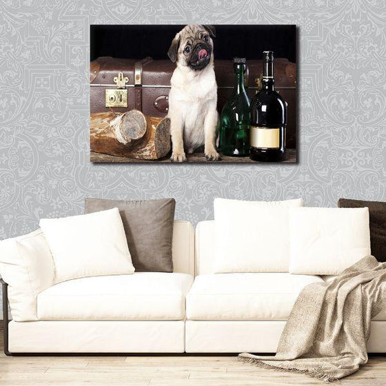 Pug With Wine Bottles Canvas Wall Art Decors