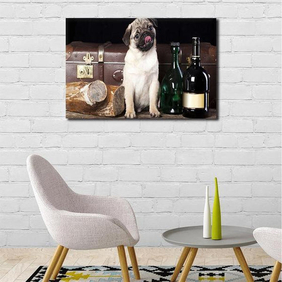 Pug With Wine Bottles Canvas Wall Art Ideas