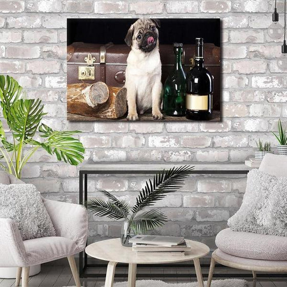 Pug With Wine Bottles Canvas Wall Art Living Room