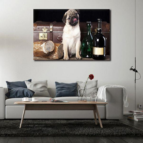 Pug With Wine Bottles Canvas Wall Art Print