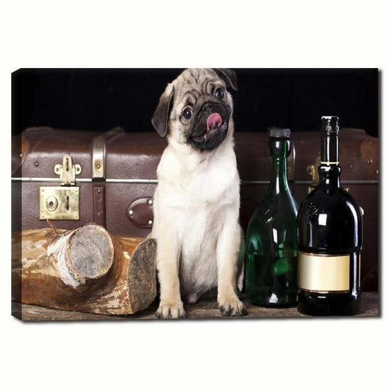 Pug With Wine Bottles Canvas Wall Art