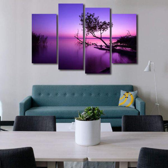 Purple Serene Sunset Canvas Wall Art Living Room