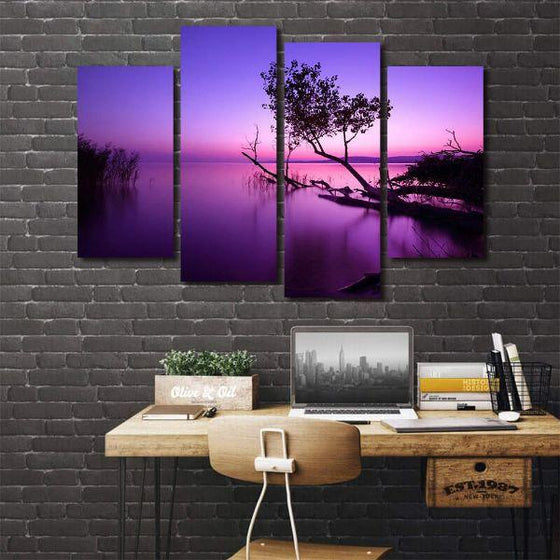 Purple Serene Sunset Canvas Wall Art Office